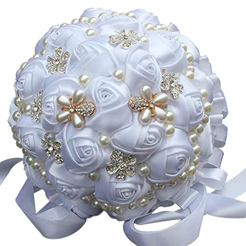 Cinta de Abalorios Hermoso Ramo de Flores de Boda Ramo de Bodas Ramo de Flores de Boda Novia sosteniendo una Flor-Blanco