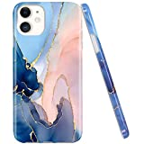 JAHOLAN iPhone 11 Case Gold Glitter Sparkle Marble Design Clear Bumper TPU Soft Rubber Silicone Cover Phone Case for iPhone 11 6.1 inch 2019 - Purple (Renewed)