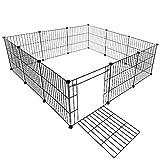 VENTOTA ペット用フェンス バリア ゲート ドア付 犬猫 メッシュ プレイサークル5050BK