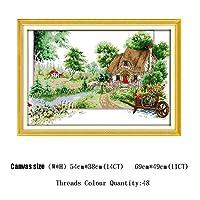 クロスステッチセットフォーシーズンズカウントDIY刺繍風景針仕事ホームデコレーション11CT 14CT Cross-Stitch (Color : F CT 559, Cross Stitch Fabric CT number : 11CT)