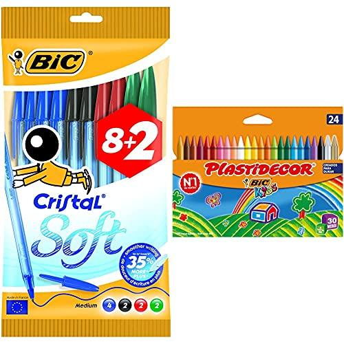 BIC Cristal Soft Bolígrafos de punta media, escritura fluida, blíster de 8 + 2 unidades + Kids Ceras de Colores para Niños, Óptimo para material escolar,Plastidecor