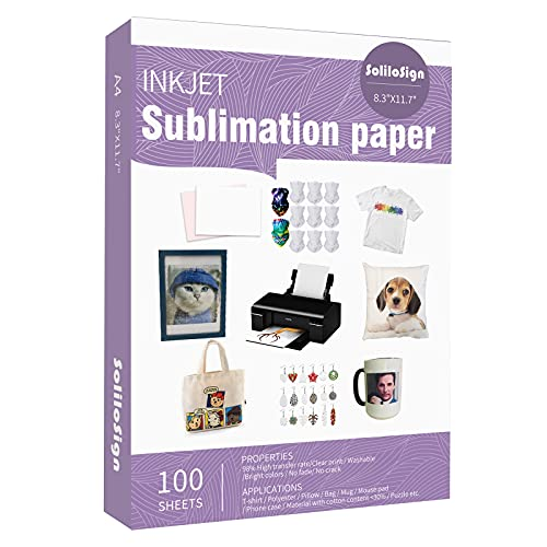 SoliloSign Sublimation Paper 8.5 x 11 Inch, 100 Sheets for Any Inkjet Printer with Sublimation Ink Epson, Sawgrass, Heat Transfer Sublimation for Mugs T-shirts Light Fabric