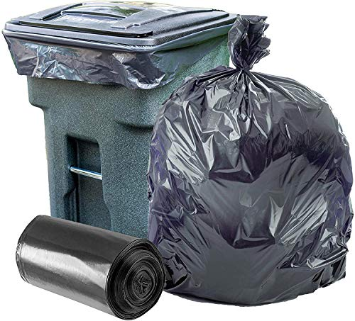 Plasticplace 95-96 Gallon Garbage Can Liners ?1.5 Mil ? Black Heavy Duty Trash Bags ? 61