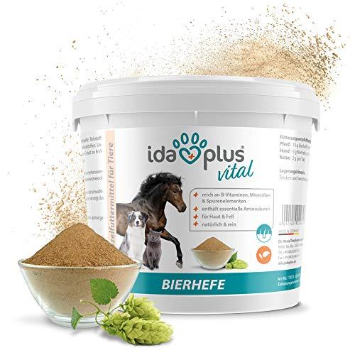 Ida Plus–Pura Cerveza Levadura Polvo–Alimentos Complemento para los & Pelo Brillo–Producto Natural para Animales–Caballos, Perros, Gatos–Práctica Cuchara dosificadora Incluye (1.5kg)