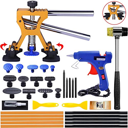 Randalfy Kit de reparación de abolladuras de carrocería, Extractor de abolladuras de Coche con Extractor de abolladuras Dorado para eliminación de abolladuras