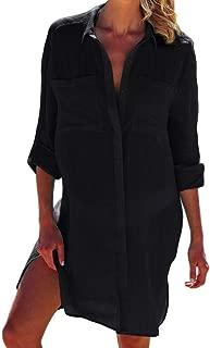 Women Sexy Vogue Button Down Shirts Crinkle Chiffon Bathing Suit Cover up Beachwear