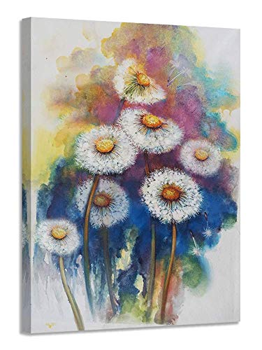 Acocifi Dandelion Canvas Wall Art Simple Life Flowers Painting Modern Watercolor Florals Picture Prints Artwork Framed Ready to Hang for Bedroom Bathroom Home and Office Decor- 12'X16', One Panel, Gallery Wrapped