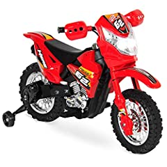2MPH MAX SPEED: Ride up to 2 mph with realistic features like treaded tires, an exhaust pipe, and sports engine SAFE TRAINING WHEELS: Designed for your child's safety and built with a simple on/off switch MUSIC AND LIGHTS: Bright colorful decals, wor...