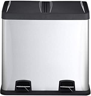 LXTIN Accueil - Preuve d'empreintes digitales 48 litres en Acier Inoxydable 2 en 1 Pédale Corbeille Poubelle 2 x 24L Recyc...
