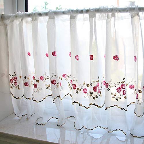 Cafe Curtains Tende a Vela e da bistrot Ricamo Tenda Corta per Finestra Mezza Tenda Doppio Strato Tenda da caffè Bianco