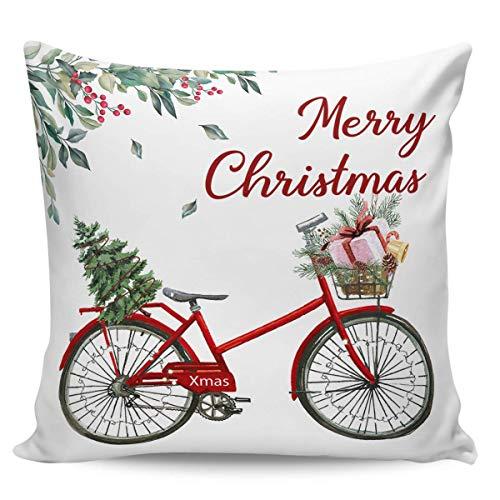 Ye Hua Fundas de Almohada de Lona cuadradas, Bicicleta de Navidad Vintage con árbol, Fundas de Almohada con Cremallera, Fundas para cojín/Oficina/sofá/Dormitorio, decoración del hogar, Flores