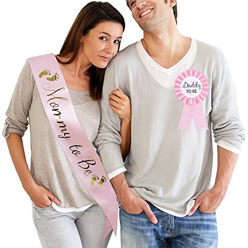 TTCOROCK Baby Shower Pink Sash Daddy to Be Tinplate Badge Pin Kit Baby Shower Party Gender Reveals Party Gifts (Pink)