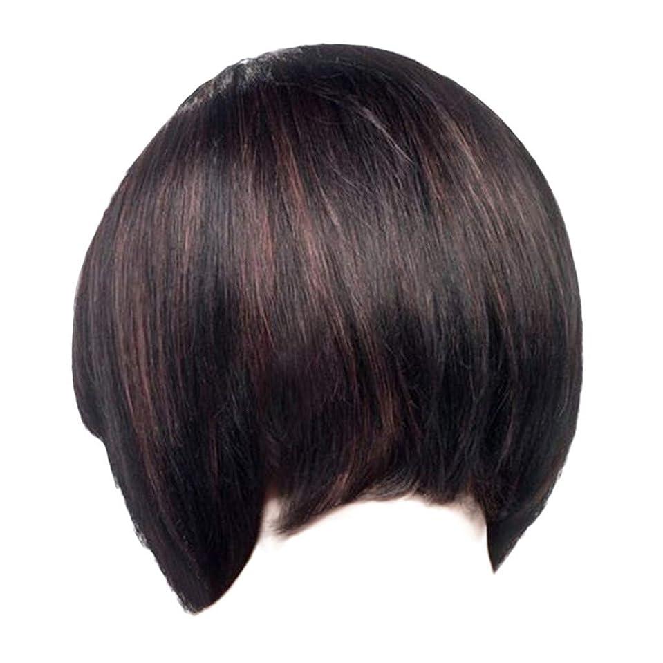 バルセロナ強制観点ウィッグレディースファッションブラックショートストレートヘアナチュラルウィッグローズヘアネット