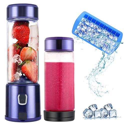 Smoothie Blender Standmixer, TTLIFE 450ml Glas 2 Deckel USB Rechargable 5100mAh Portable Blender mit 6 Edelstahlklingen, perfekt für Obstsäfte, Milchshake und Babynahrung, FDA/BPA-frei, Lila