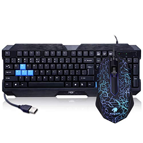 Guanwen Computer Game Mute Keyboard Wired Usb Desktop Notebook Extern toetsenbord en muis Set + Kleurrijke Gaming Mouse voor PC Laptop/Computer