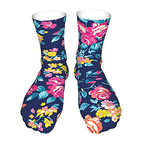 Men's Dress Socks Neon Bright Rose Garden Cotton Socks Classic Calf Socks Man's Gift