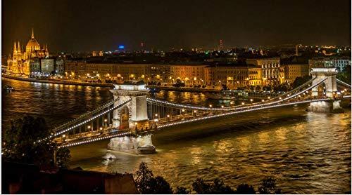 HCYEFG Puzzle De 1000 Piezas Puente De Las Cadenas De Budapest Arte Bricolaje para Adultos Mayores Adultos