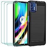 iVoler Cover per Motorola Moto G9 Plus con 3 Pezzi Pellicola Vetro Temperato, Fibra di Carbonio...