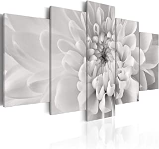 5 Piece Chrysanthemum Wall Art on Canvas Grey Flower Artwork Background Modern Home Decor Print Stretched and Framed