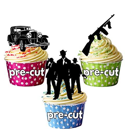 AK Giftshop PRE-CUT Mob Gangster 1920 1930 - Edible Cupcake Toppers/Cake Decoraties (Pak van 12)