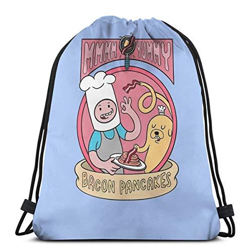 Dutars Bacon Pancakes Kordelzug Tasche Schultertasche Druck Rucksack Reise Gym Bag Beutel Kordelzug Rucksack Leicht für Reisen Gym Yoga Aufbewahrung Geschenk
