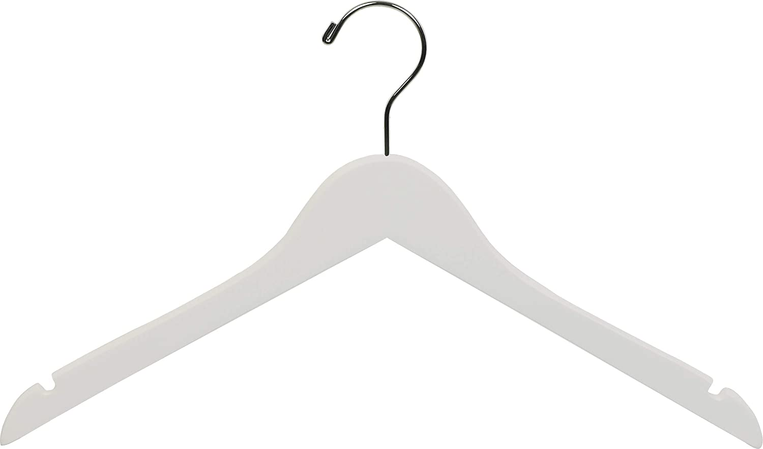 The Great American Hanger Company White Wood Top Hanger, Box of 100 Space Saving 17 Inch Flat Wooden Hangers w Chrome Swivel Hook & Notches for Shirt Jacket or Dress
