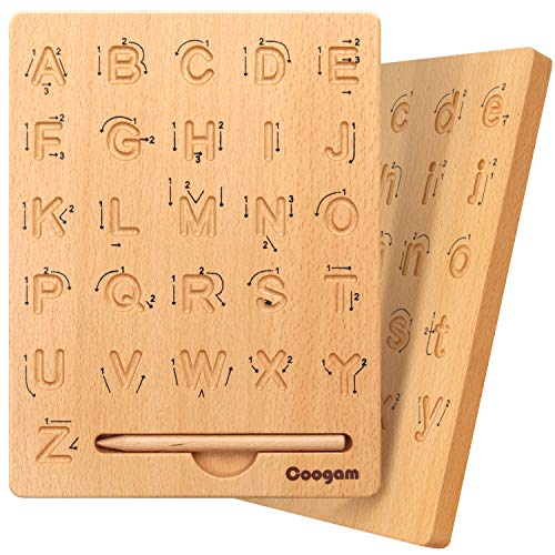 Coogam Wooden Letters Practicing Board, Double-Sided Alphabet Tracing Tool Learning to Write ABC Educational Toy Game Fine Motor Montessori Gift for Preschool 3 4 5 Years Old Kids