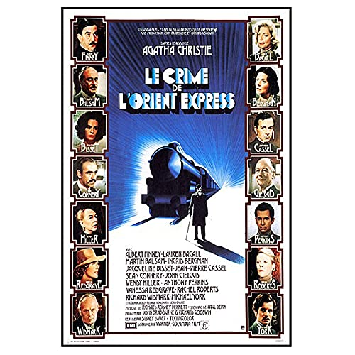 Le Crime De L'orient-Express rétro Film Affiche Toile Peinture imprimée pour Salon décor à la maison-50X70 CM Pas de Cadre