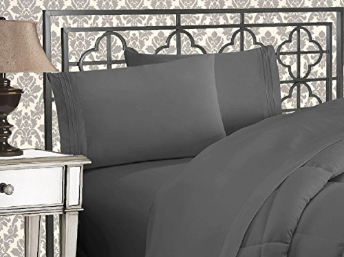 Elegant Comfort Luxurious 1500 Thread Count Egyptian Three Line Embroidered Softest Premium Hotel Quality 4-Piece Bed Sheet Set, Wrinkle and Fade Resistant, Queen, Gray