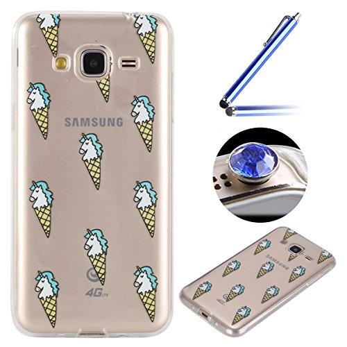 Coque [ Samsung Galaxy J3(2016) ],Etsue TPU Gel Doux Coque Housse étui pour Samsung Galaxy J3(2016),Etui de Protection Cas Ultra-Mince Transparent Bumper Cover pour Samsung Galaxy J3(2016),Anti-rayures Peint Motif Vogue Case Cover Coque de Téléphone pour Samsung Galaxy J3(2016) + 1 x Bleu stylet + 1 x Bling poussière plug (couleurs aléatoires) - Crème Glacée