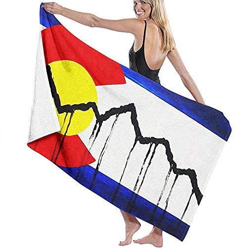 Edmun Toalla de Playa de Microfibra Toalla de baño de la Bandera de Colorado Americana Manta de Playa Toalla de Secado rápido para Piscina Yoga Camping Gimnasio Deporte 80 * 130 cm