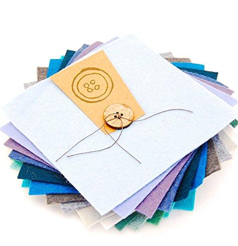 Button Company The Scampoli in Feltro Quadrati Charm, Lato 15 cm, Colori Assortiti Oceano