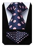 HISDERN Dot Floral Wedding Tie Panuelo para hombres Corbata y bolsillo cuadrado Rosa/azul marino