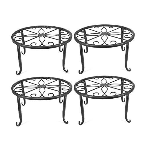 Anqia - Soporte para plantas de metal para interiores, 4 unidades, juego de 4 soportes para plantas de hierro (negro)
