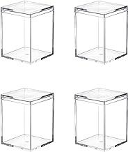 Dayaanee Lot de 4 petits cubes carrés en plastique acrylique transparent avec couvercle 80 x 80 x 110 mm pour bonbons, pil...