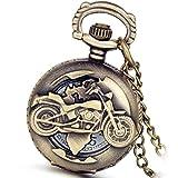 Lancardo, orologio da taschino da uomo, stile vintage, soggetto: motocicletta, colore bronzo, meccanismo analogico al quarzo, ricco design Openwork, con catenina, idea regalo natalizia