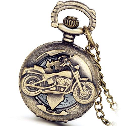 LANCARDO Taschenuhr Vintage Herren Damen Uhr Analog mit Kette Weihnachten Geschenk LCD100897-de (Dad Taschenuhr) (Cool Motorrad)