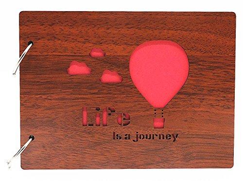 Smiling Art Fotoalbum zum selbst gestalten/basteln, Fotoalbum zum einkleben, DIY Scrapbook, Fotobuch, Tagebuch, Reisebuch, Vintage Style mit einem Deckblatt aus MDF Holz, (Journey)