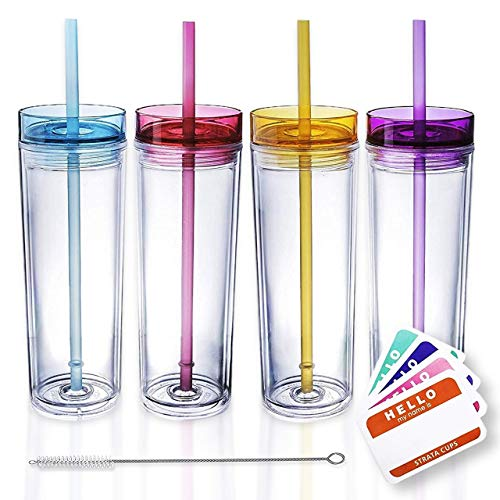 SKINNY TUMBLERS 4 Colored Acrylic Tumblers with Lids and Straws | Skinny, 16oz Double Wall Clear Plastic Tumblers With FREE Straw Cleaner & Name Tags! (Clear, 4)
