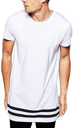 138fe08ff2489 LIWEIKE Men s Striped Hip Hop Basic Longline Crewneck T-Shirt