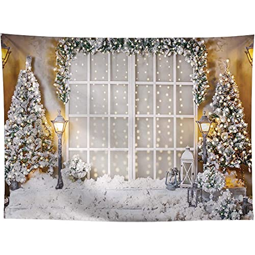 lovedomi 10x7ft White Winter Christmas Snowflake Bokeh Christmas Tree Photography Background Photo Studio Booth Background Family Holiday Birthday Party Studio Props Photography Vinyl Material