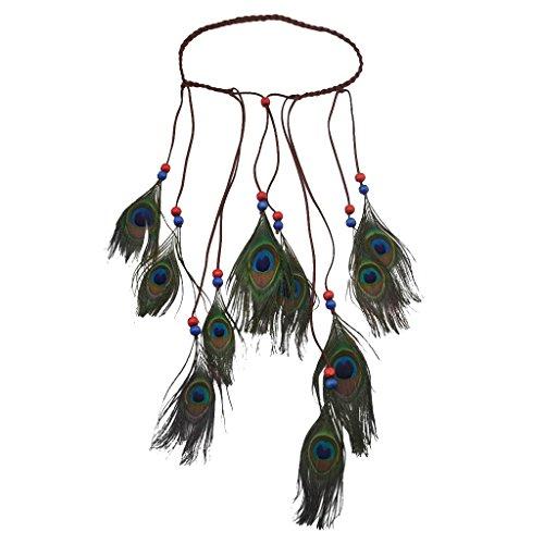 Hellery Dame Cute Fascinator Feather Stirnband Haarband Bohemian Tassels Headwear - Blau