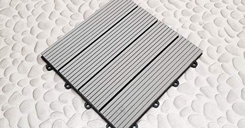 Klick WPC Fliesen grau für Balkon oder Terrasse in brillanter Holz Optik | 30x30 cm | Set (10 Stück / 0,9 m²)