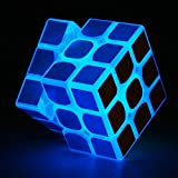TANCH Blue Fluorescent Speed Cube 3x3x3 Glow in Dark Magic Cube Puzzle Toy