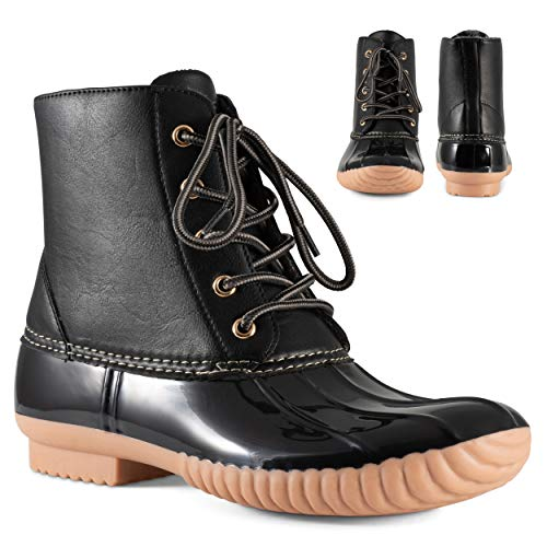 Twisted Shoes Becca Womens Rain Boots, Waterproof Wide Calf, Rubber Lace Up Duck Boot, Black/Black, 6