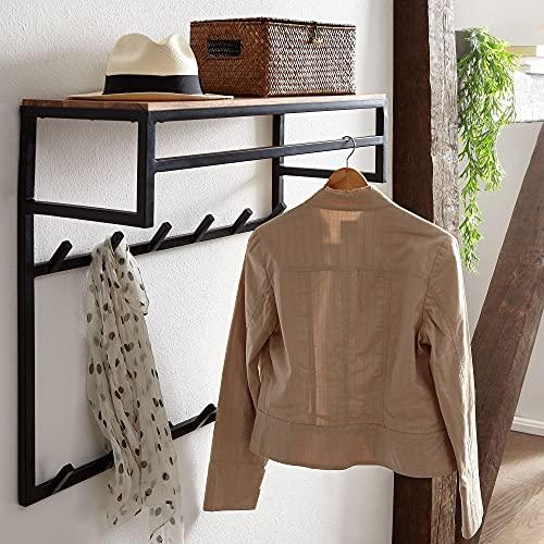 FineBuy Design Wandgarderobe Akazie Massivholz Metall 70x70x30 cm   Hakenleiste mit Ablage und Kleiderstange   Flurgarderobe Garderobe Wand Holz