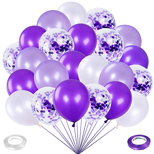 100pcs 12Inch Purple Balloons Lavender White and Confetti Latex Purple Balloon Garland Kit Party Balloons for Woman Girls Birthday Party Wedding Baby Shower Graduation Party Decorations and Supplies