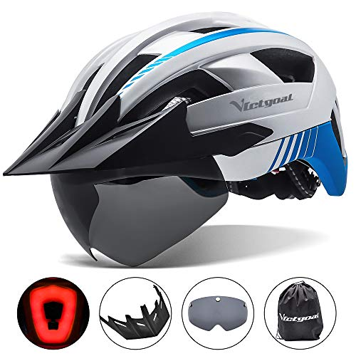 VICTGOAL Casco Bici Casco MTB Uomo con Luce LED, Occhiali Protettivi Magnetici, Visiera Traspirante, Casco da Mountain Bike per Unisex Caschi da Bicicletta Regolabili (Argento)