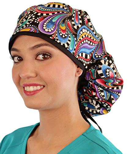 Sparkling EARTH Big Hair Giant Mixed Color Paisley with Black Ties Big...