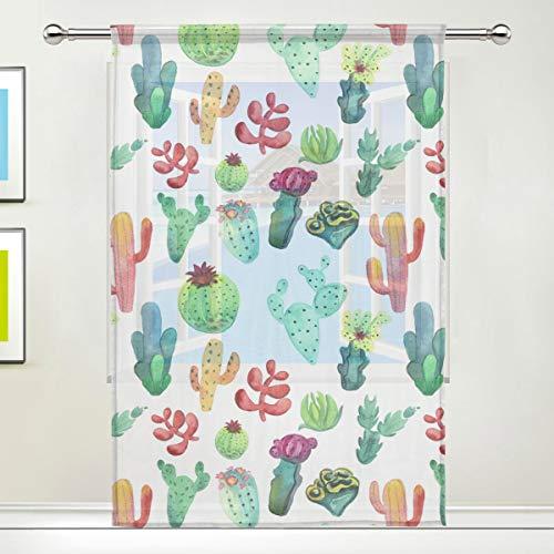 NaiiaN Sirena Cactus Tropicale Piante grasse Stampa Tendaggi semitrasparenti Retro Tulle Tenda Trasparente per Camera da Letto Soggiorno Decor Tenda p